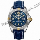 Breitling Windrider Cockpit 18kt Yellow Gold Steel Blue Mens Wat