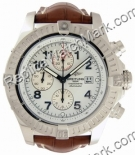 Breitling Aeromarine Super Avenger Steel Brown Strap Mens Watch