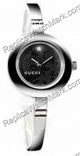 Gucci 105 Serie Diamond Black Flower Dial Damenuhr YA105510