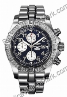 Super Avenger Breitling Aeromarine Mens Steel Blue Diamond Watch