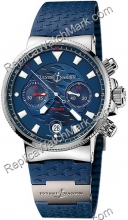 Ulysse Nardin Marine Blue Seal Chronograph Mens Watch 353-68LE-3