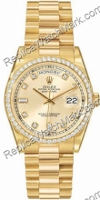 Swiss Rolex Oyster Perpetual Day-18kt Date Mens Diamond Yellow G