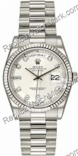 Rolex Oyster Perpetual Day-Date 18 kt White Diamond Mens Gold Wa