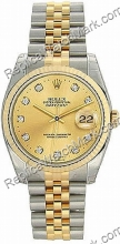 Swiss Rolex Oyster Perpetual Datejust Diamond Two-Tone 18kt Gold