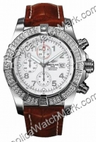 Breitling Super Avenger Diamond Aeromarine Steel Brown Strap Her