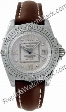 Breitling Windrider Cockpit Lady Diamond Steel Brown Strap Damen