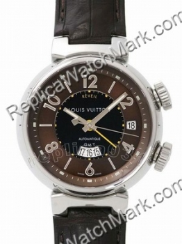 Replica Louis Vuitton Watch black dial with leather band