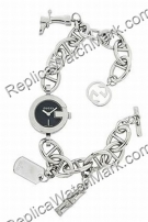 Gucci 107 Black Steel Charm Ladies Bracelet Watch YA107503