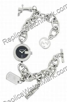 93750c2b5 Fashion beach watches : Gucci 107 Black Steel Charm Ladies Bracelet ...