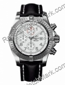 Super Avenger Breitling Aeromarine Mens Strap Steel Black Watch