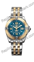 Breitling Windrider Cockpit Lady 18kt Gelbgold Steel Blue Damenu