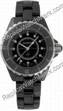 Chanel J12 Black Diamonds Feminina de cerâmica ver H1625