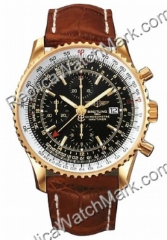 Breitling Navitimer World 18kt Yellow Gold Mens Brown K2432212 W
