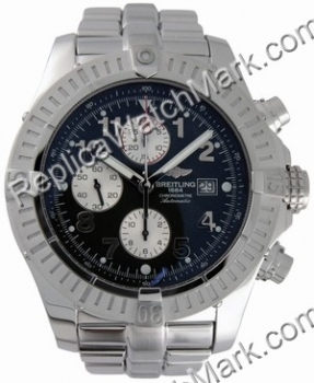 Breitling Aeromarine Super Avenger Steel Black Mens Watch A13370