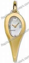 Gucci 103 Mors Horsebit 18kt Gold-Ton Diamond Damenuhr YA103537