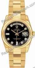 Rolex Oyster Perpetual Date 18kt Dia-Mens losango amarelo Gold W