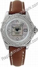 Breitling Windrider cabina Señora Damas de Acero Diamantes Brown