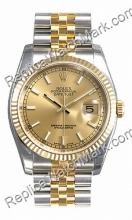 Mens Swiss Rolex Oyster Perpetual Datejust Two-Tone oro 18kt e S