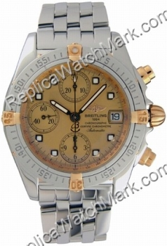 Breitling Chrono Cockpit Windrider 18kt Yellow Gold Mens Steel G