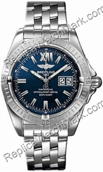 Breitling Windrider Mens Steel Blue Cockpit Watch A4935011-C6-36