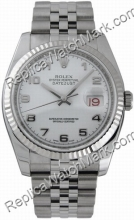Swiss Rolex Oyster Perpetual Datejust Steel White Mens Watch 116