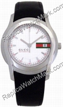 Gucci 5505 Stainless Steel Black Leather Мужские Часы YA055207