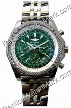 Breitling Bentley Motors Chronograph Steel Green Mens Watch A253