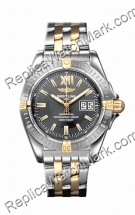 Breitling Windrider Cockpit 18kt Yellow Gold Steel Grey Mens Wat