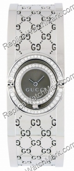 Gucci Twirl 112 2 Row Diamante Ladies Bangle Watch Steel YA11250