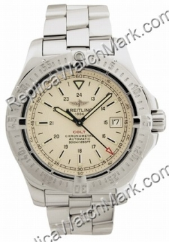 Breitling Aeromarine Colt Automatic Steel Cream Mens Watch A1738