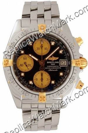 Breitling Chrono Cockpit Windrider 18kt Yellow Gold Mens Steel B