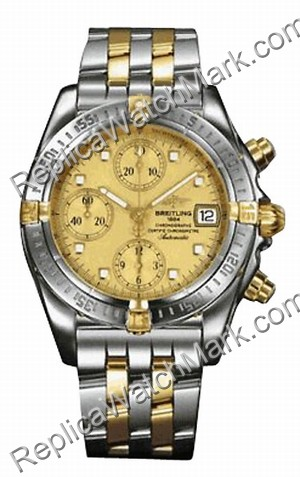 Breitling Windrider Chrono Cockpit 18kt Yellow Gold Steel Mens W