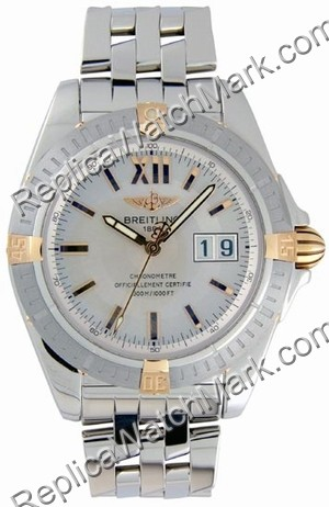 Breitling Windrider Cockpit 18kt Yellow Gold Steel Mens Watch B4