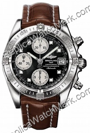 Breitling Chrono acier Windrider Mens Cockpit Brown Watch A13358