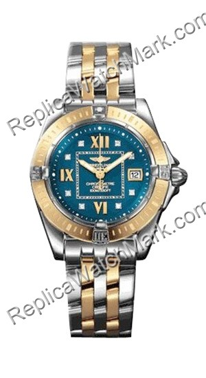 Breitling Windrider Cockpit Lady 18kt Yellow Gold Steel Blue Lad