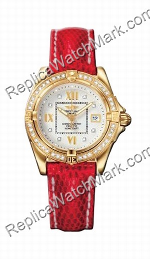 Breitling Windrider Cockpit Lady Diamond 18kt Gelbgold Red Damen