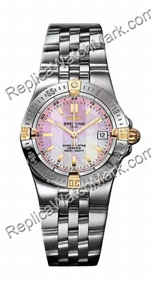 Breitling Windrider Starliner 18kt Yellow Gold Steel Pink Mãe-de