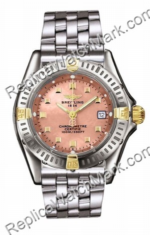 Breitling Windrider Callistino 18kt Yellow Gold Steel Pink madre