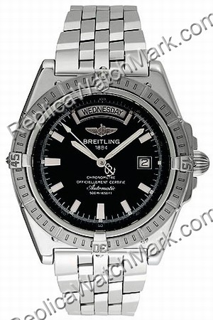 Breitling Windrider Mens Steel Vento contrario Black Watch A4535