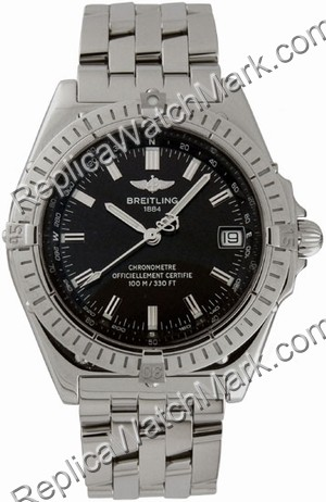 Breitling Windrider Wings Automatic Steel Black Mens Watch A1035