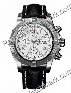 Breitling Aeromarine Super Avenger Steel Black Strap Mens Watch