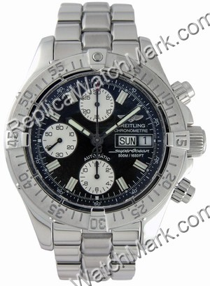 Breitling Aeromarine Chrono Superocean Steel Black Mens Watch A1
