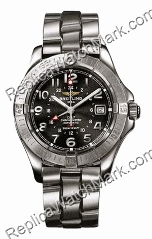 Breitling Colt Aeromarine Mens Steel GMT Black Watch A3235011-B7