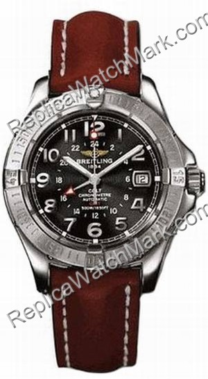 Breitling Colt Aeromarine Mens Steel GMT Brown Watch A3235011-B7