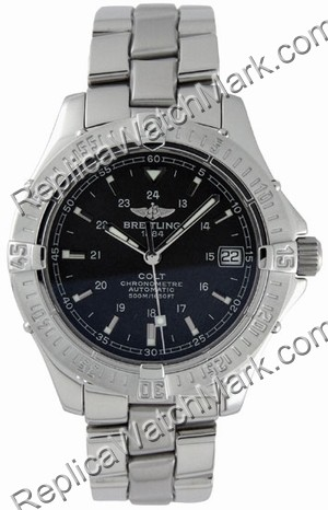 Breitling Aeromarine Colt Automatic Steel Black Mens Watch A1735