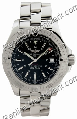 Breitling Aeromarine Colt Automatic Steel Black Mens Watch A1738