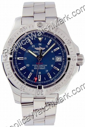 Breitling Aeromarine Colt Automatic Mens Steel Watch Blue A17380