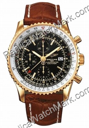 Breitling Navitimer World 18kt Yellow Gold Brown Mens Watch K243
